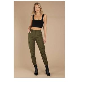 UO army green tapered crop pants cargo Lg